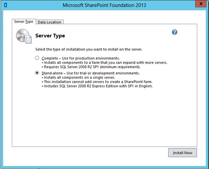 SharePoint 2013 Foundation install and .hta files on Server 2012 (4/4)